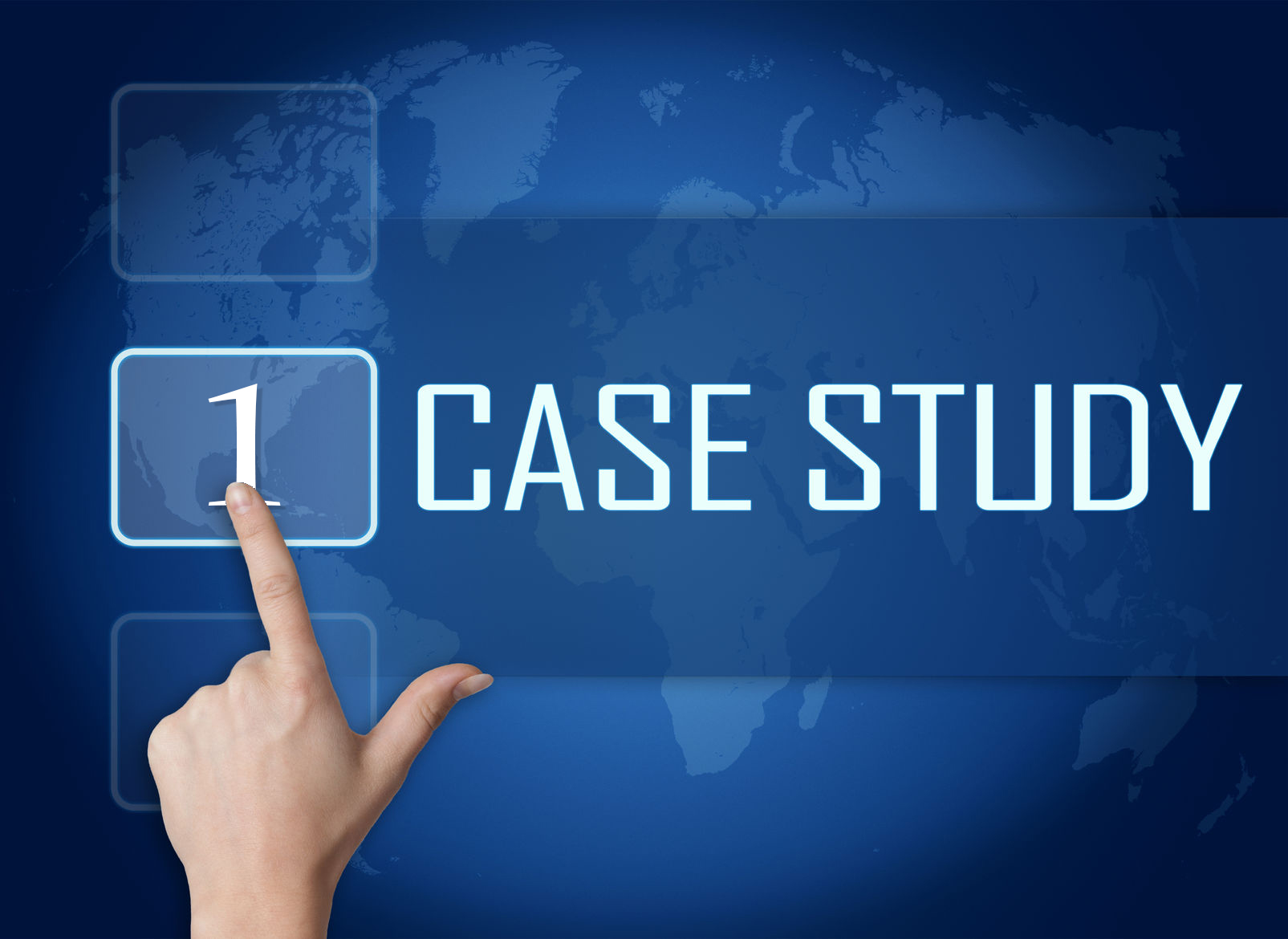 27631485 - case study concept with interface and world map on blue background